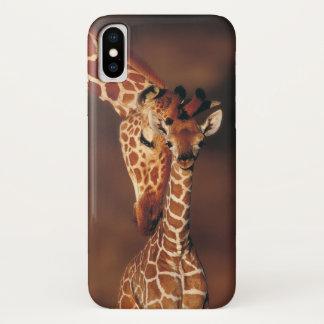 Coque iPhone X Girafe adulte avec le veau (camelopardalis de