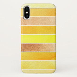 Coque iPhone X grand arrière - plan jaune d'aquarelle - aquarelle