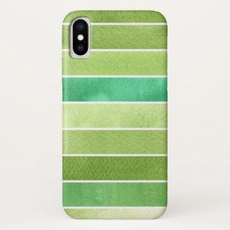 Coque iPhone X grand arrière - plan vert d'aquarelle - aquarelle