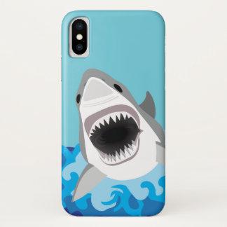 Coque iPhone X Grande bande dessinée drôle de requin blanc