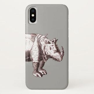 Coque iPhone X Gravure antique d'Albrecht Durer de rhinocéros
