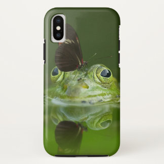 Coque iPhone X Grenouille verte et papillon