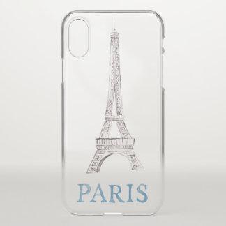 Coque iPhone X Griffonnage français d'aquarelle de Paris de Tour