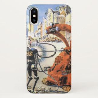 Coque iPhone X Guerres futuristes vintages d'alien de ville de la