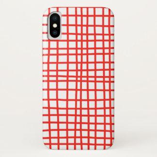 Coque iPhone X Guingan rouge de cas fait main