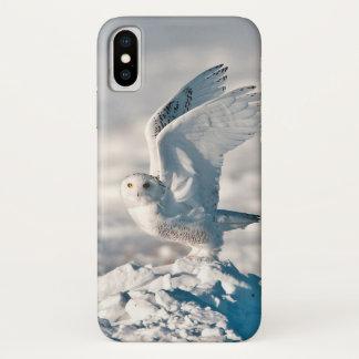 Coque iPhone X Hibou de Milou décollant de la neige