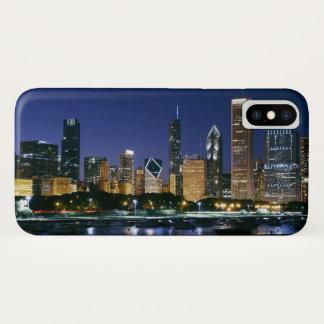 Coque iPhone X Horizon de Chicago du centre la nuit