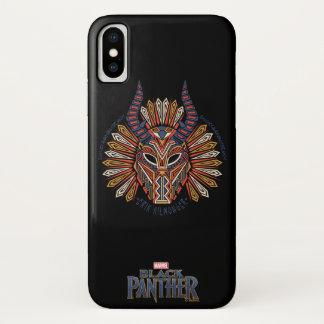 Coque iPhone X Icône tribale noire de masque de la panthère |
