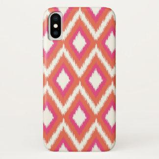 Coque iPhone X Ikat tribal de corail et rose Chevron