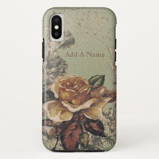 Coque iPhone X Illustration vintage rose d'antiquité