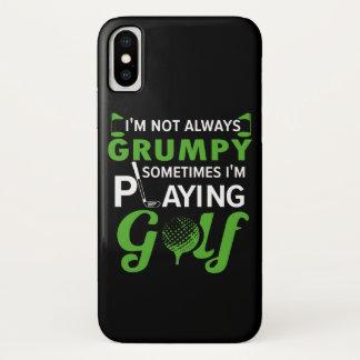 Coque iPhone X Im parfois Im non grincheux golf de jeu