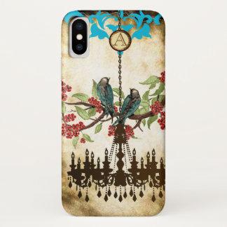 Coque iPhone X iPhone 5 de lustre d'oiseau de fleurs de cerisier