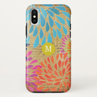 Coque iPhone X iPhone moderne vintage 5 de monogramme de fleur