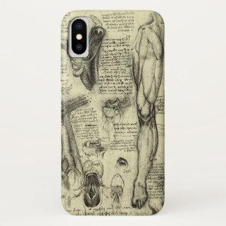 Coque iPhone X Jambe humaine vintage Leonardo da Vinci de larynx