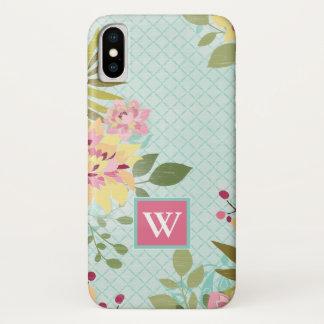 Coque iPhone X Jardin floral, arrière - plan bleu