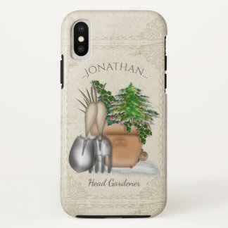 Coque iPhone X Jardinage mignon d'hiver