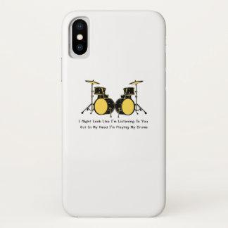 Coque iPhone X Je joue ma musique de batteur de tambours