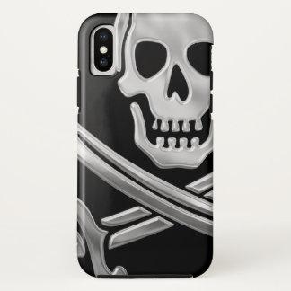 Coque iPhone X Jolly roger argenté