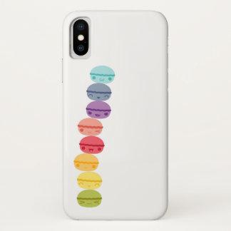 Coque iPhone X Kawaii Macarons empilé par arc-en-ciel