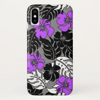 Coque iPhone X Ketmie hawaïenne de baie de Huakini florale