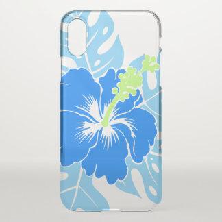 Coque iPhone X Ketmie hawaïenne de plage de Banzai florale - bleu