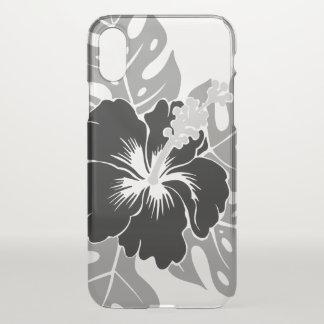 Coque iPhone X Ketmie hawaïenne de plage de Banzai florale - noir