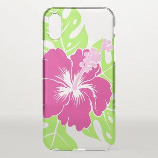 Coque iPhone X Ketmie hawaïenne de plage de Banzai florale - rose