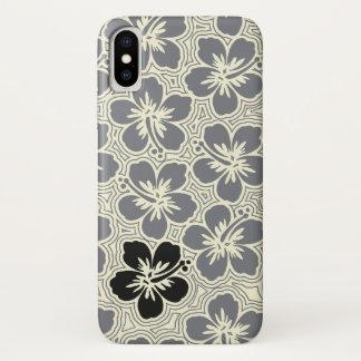 Coque iPhone X Ketmie hawaïenne florale d'accent d'île rayée