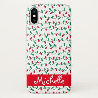 Coque iPhone X La lumière de Noël barre le nom
