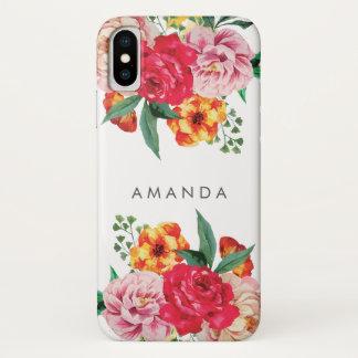 Coque iPhone X La pivoine À LA MODE Girly d'aquarelle fleurit