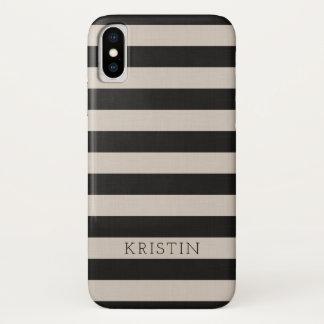 Coque iPhone X La toile noire de ferme barre le monogramme