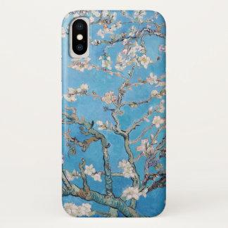Coque iPhone X L'amande fleurit peinture bleue d'art de Vincent