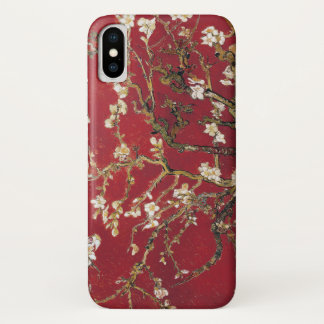 Coque iPhone X L'amande fleurit peinture rouge d'art de Vincent