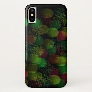 Coque iPhone X Lampes au néon et étincelle vertes et rouges