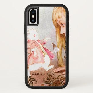 Coque iPhone X Lapin Alice vintage au pays des merveilles