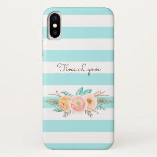 Coque iPhone X L'Aqua chic barre floral et nommé féminins