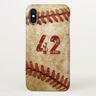 Coque iPhone X Le base-ball grunge vintage a personnalisé votre