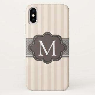 Coque iPhone X Le beige en ivoire élégant barre le monogramme de
