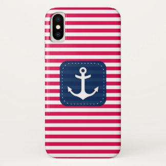 Coque iPhone X Le blanc rouge nautique barre l'ancre de bannière
