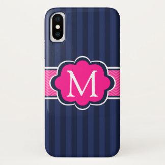 Coque iPhone X Le bleu marine barre le monogramme de coutume de