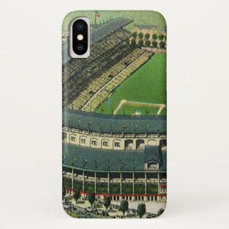 Coque iPhone X Le cru folâtre le stade de base-ball, vue aérienne
