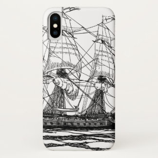 Coque iPhone X Le cru pirate le galion, croquis d'un bateau