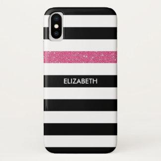 Coque iPhone X Le noir moderne barre des tape-à-l'oeil et le nom