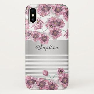 Coque iPhone X Le ressort violet floral de fleur barre chic