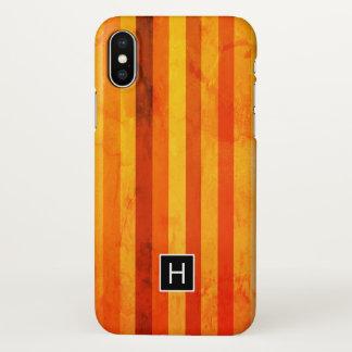 Coque iPhone X Le rouge orange patiné chaud barre le monogramme