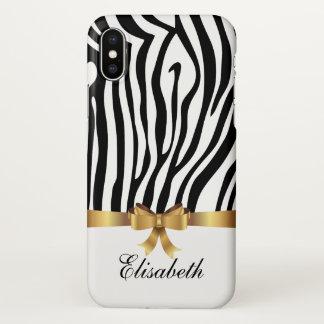 Coque iPhone X Le zèbre noir Girly barre l'ARC d'or personnalisé