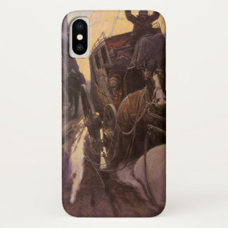 Coque iPhone X Les cowboys vintages, supportent dans le canyon