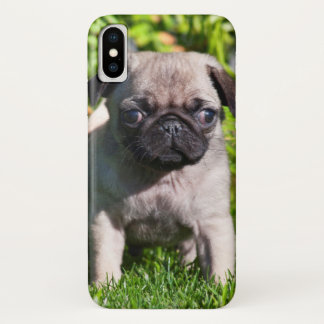 Coque iPhone X Les Etats-Unis, la Californie. Chiot de carlin se