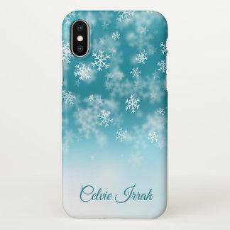 Coque iPhone X Les flocons de neige élégants ont personnalisé la