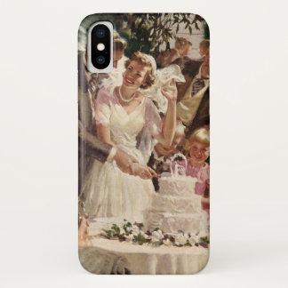 Coque iPhone X Les nouveaux mariés vintages de marié de jeune